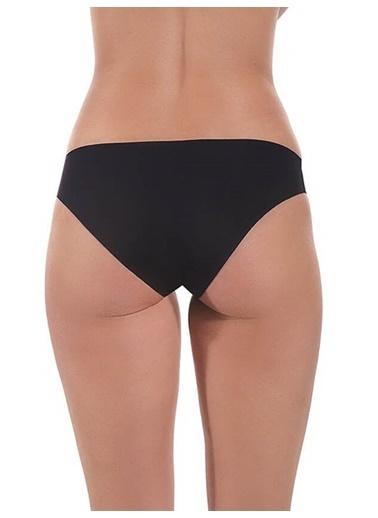 Cottonhill Kahverengi Klasik Basic Lazer Kesim Kadın Bikini Külot Siyah